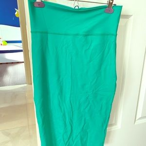 Turquoise stretch pencil skirt